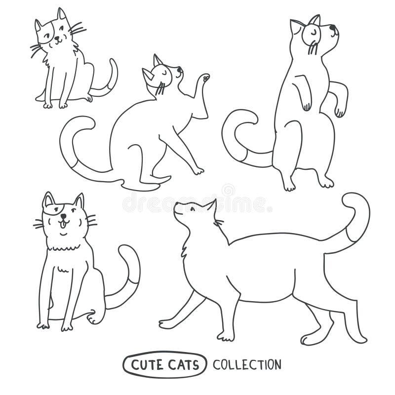 Ensemble dr?le mignon de vecteur de chats illustration libre de droits