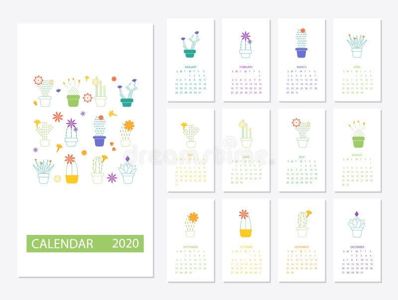 Calendrier Om 2020.Ensemble Du Calendrier 2020 Avec Des Succulents De Cactus