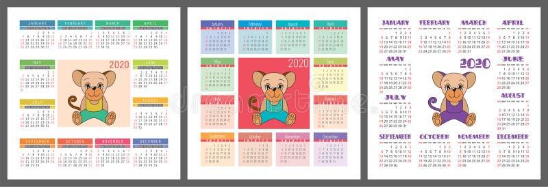 Ensemble du calendrier 2020 Symbole de rat de la nouvelle année Descripteur de conception de vecteur horoscope chinois Calendrier illustration libre de droits