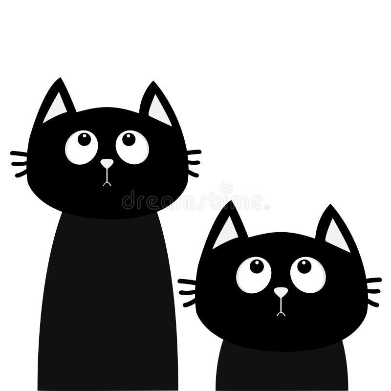 Chat Noir De Kawaii De Bande Dessinée Mignonne Sur Le Fond