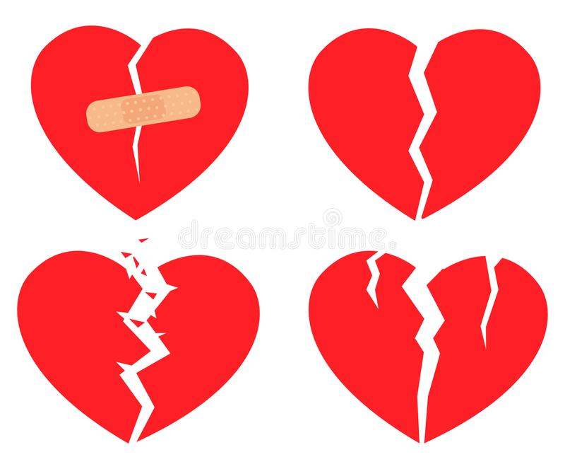 Ensemble du coeur brisé d'icônes illustration libre de droits