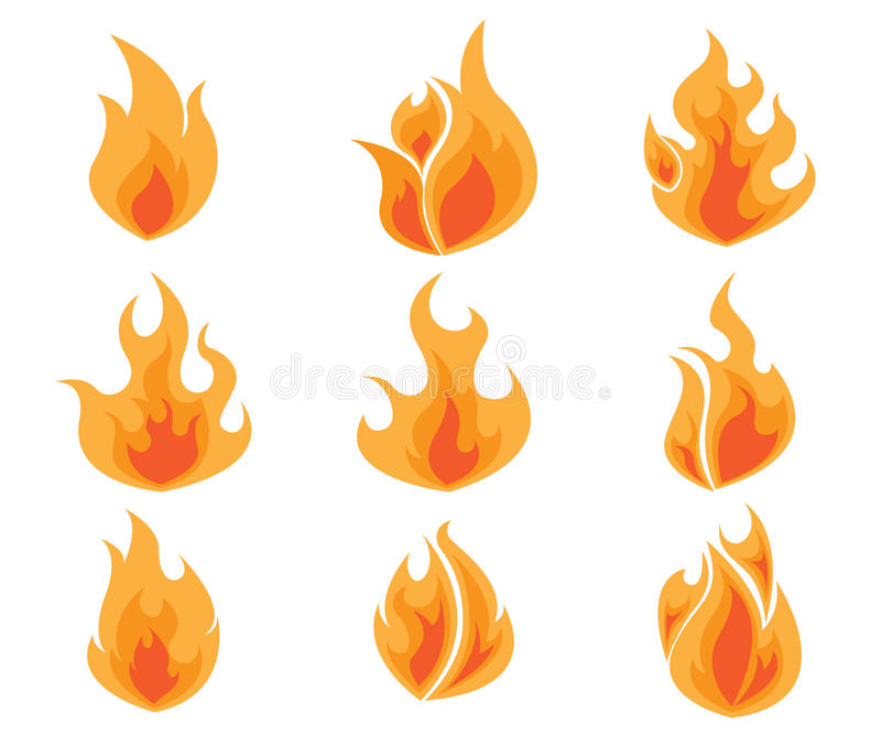 Ensemble du feu, vecteur de flammes illustration stock