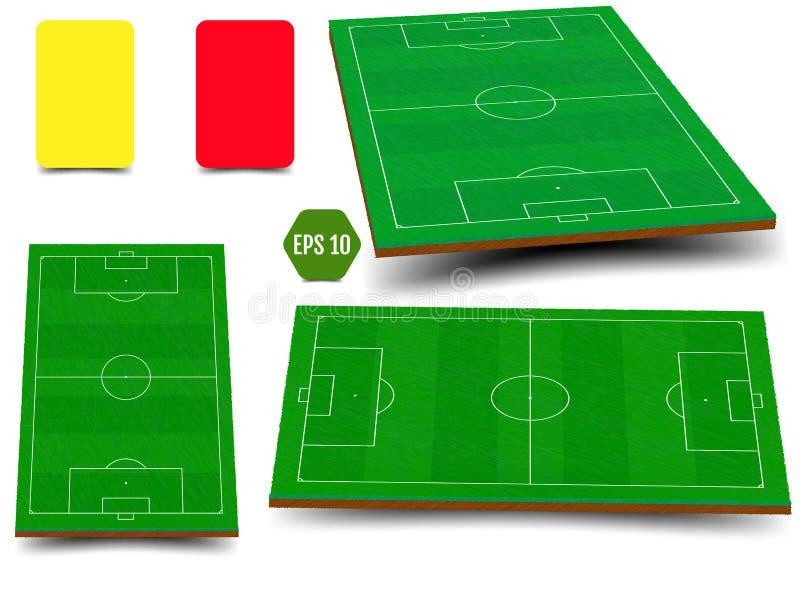 Ensemble du football de champ vert pour le jeu illustration stock