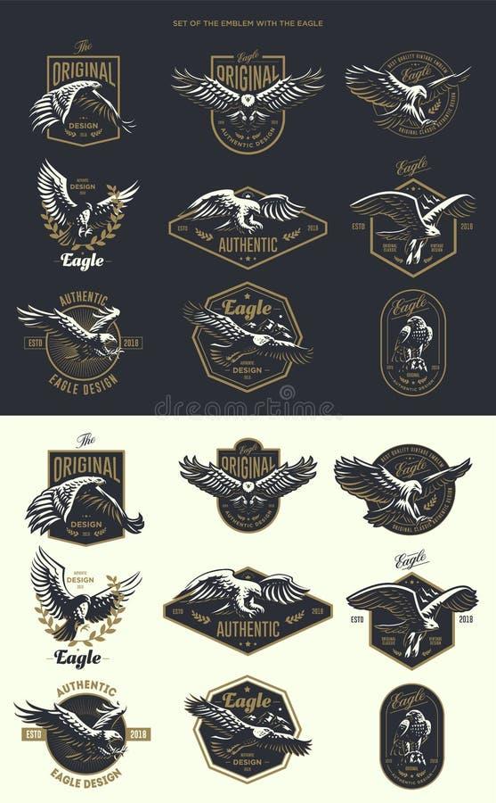 Ensemble du logo de vintage avec l'aigle illustration libre de droits
