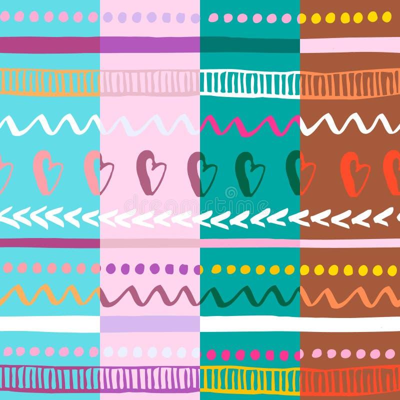 Ensemble du modèle quatre tribal coloré sans couture Texture ethnique tirée par la main à la mode Illustration de vecteur illustration libre de droits
