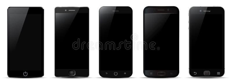 Ensemble du smartphone cinq noir - vecteur illustration de vecteur
