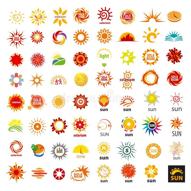 Ensemble du soleil de logos de vecteur illustration stock