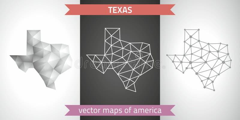Ensemble du Texas de gris et de cartes polygonales de la mosaïque 3d d'argent La perspective graphique d'ombre d'ensemble de la g illustration de vecteur