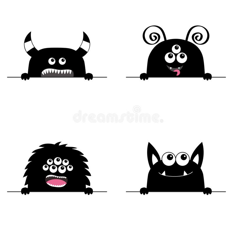 Ensemble effrayant d'icône de tête de visage de monstre Remet la patte tenant la ligne Dents de croc de klaxons La bande dessinée illustration libre de droits