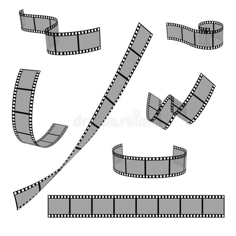 Ensemble en blanc de vecteur de cadre de glissière du petit pain 35mm de bande de film de cinéma illustration libre de droits
