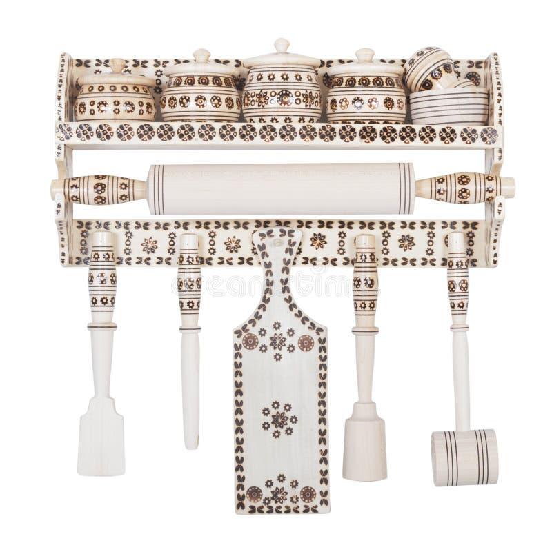Ensemble en bois d'accessoires décoratifs de cuisine photos stock