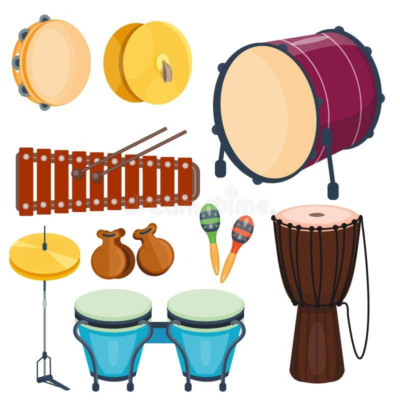 Ensemble en bois de série d'instrument de musique de rythme de tambour musical d'illustration de vecteur de percussion illustration de vecteur