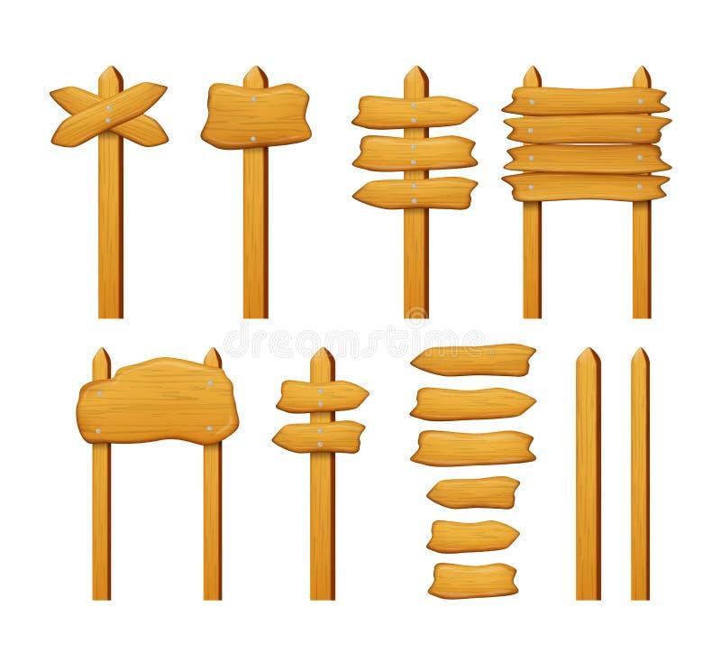 Ensemble en bois de vecteur de panneaux et de flèches de signe d'isolement sur le blanc illustration de vecteur