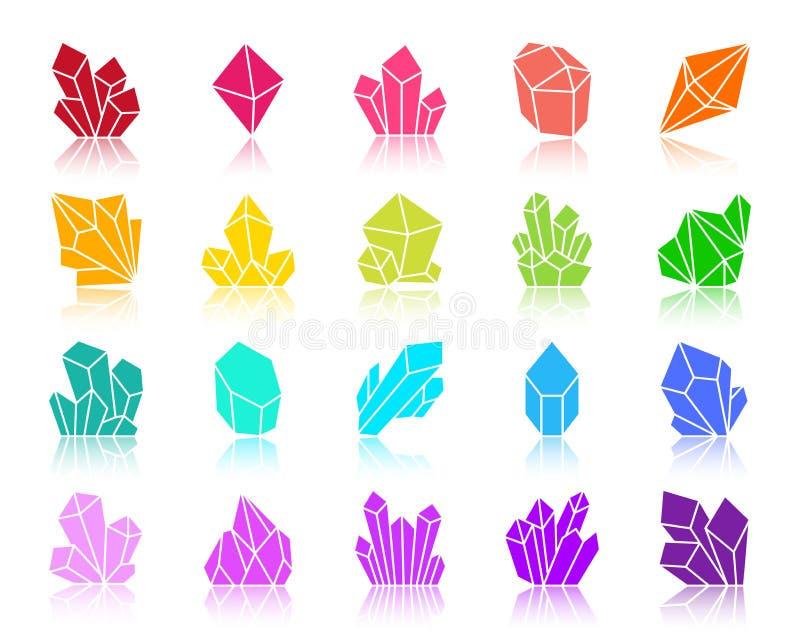 Ensemble en cristal de vecteur d'icônes de silhouette de couleur illustration de vecteur