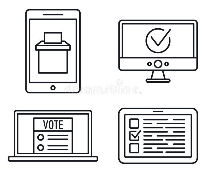 Ensemble en ligne adroit d'icônes de vote, style d'ensemble illustration stock