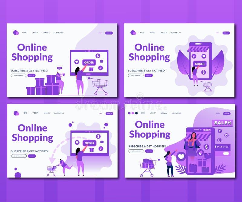 Ensemble en ligne d'achats illustration de vecteur