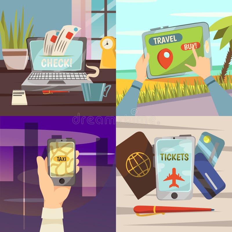Ensemble en ligne d'icône de services de réservation illustration stock