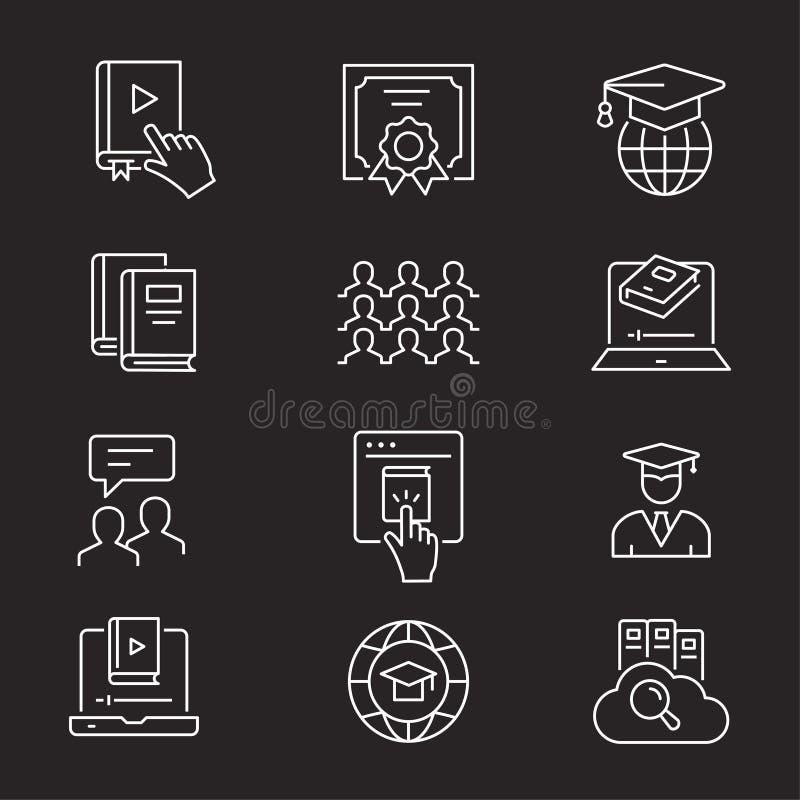 Ensemble en ligne d'ic?ne d'?ducation Illustrations d'isolement sur le blanc illustration stock