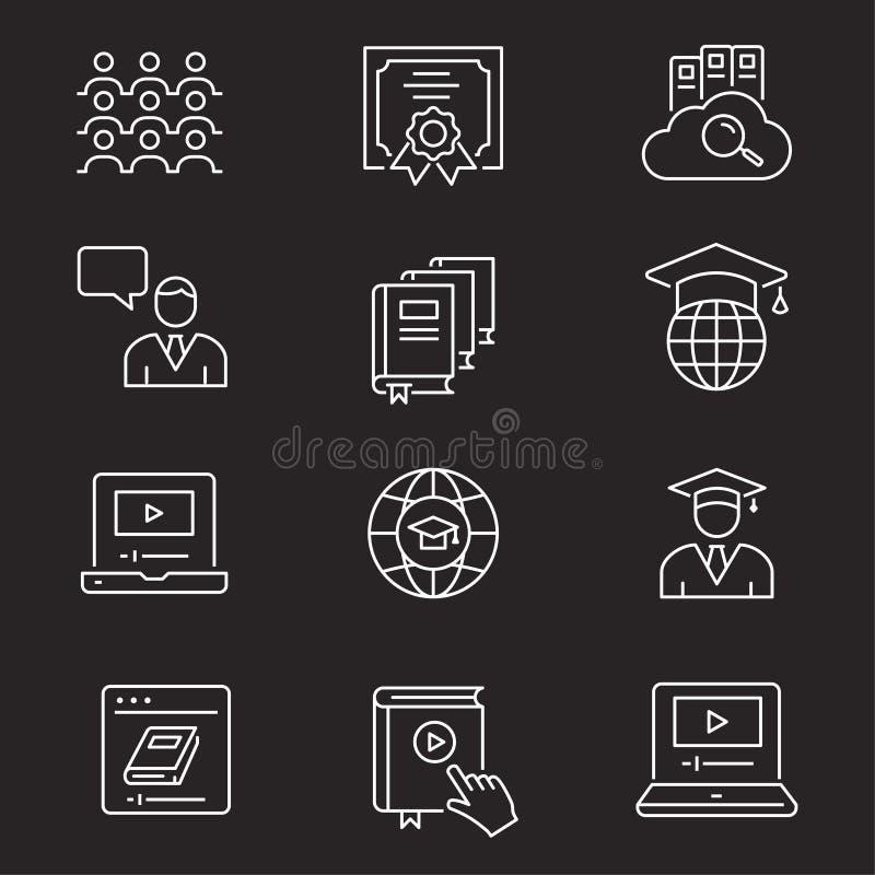 Ensemble en ligne d'ic?ne d'?ducation Illustrations d'isolement sur le blanc illustration de vecteur