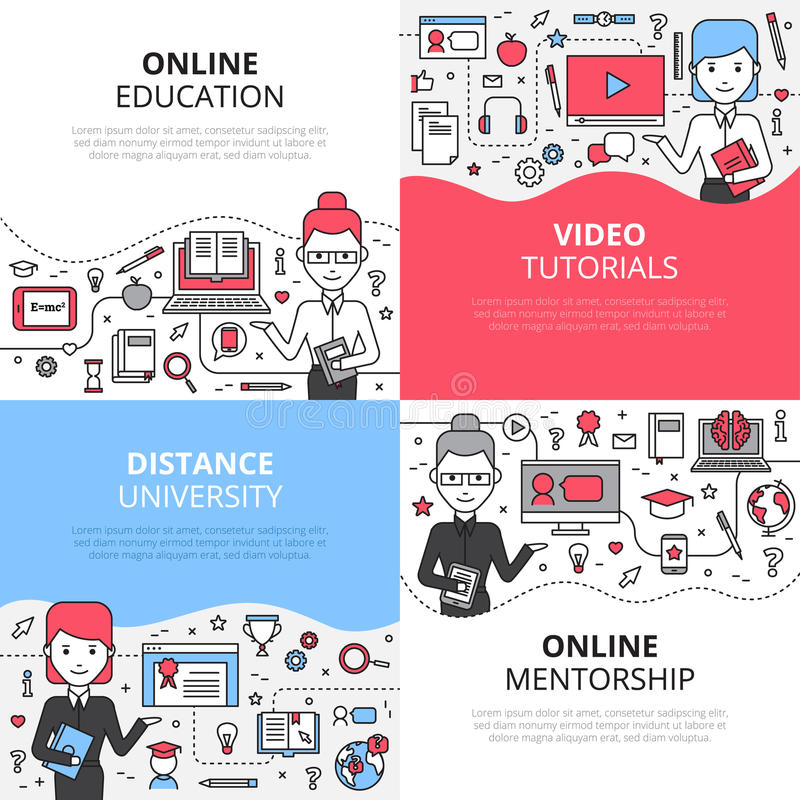 Ensemble en ligne de concept de construction d'éducation illustration stock
