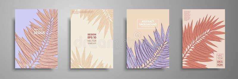 Ensemble en pastel de conception de couvertures avec les feuilles tropicales Conception moderne de calibre de couvertures Applica illustration stock