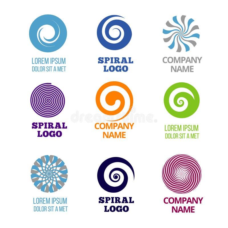 Ensemble en spirale et de remous de logos de vecteur illustration de vecteur