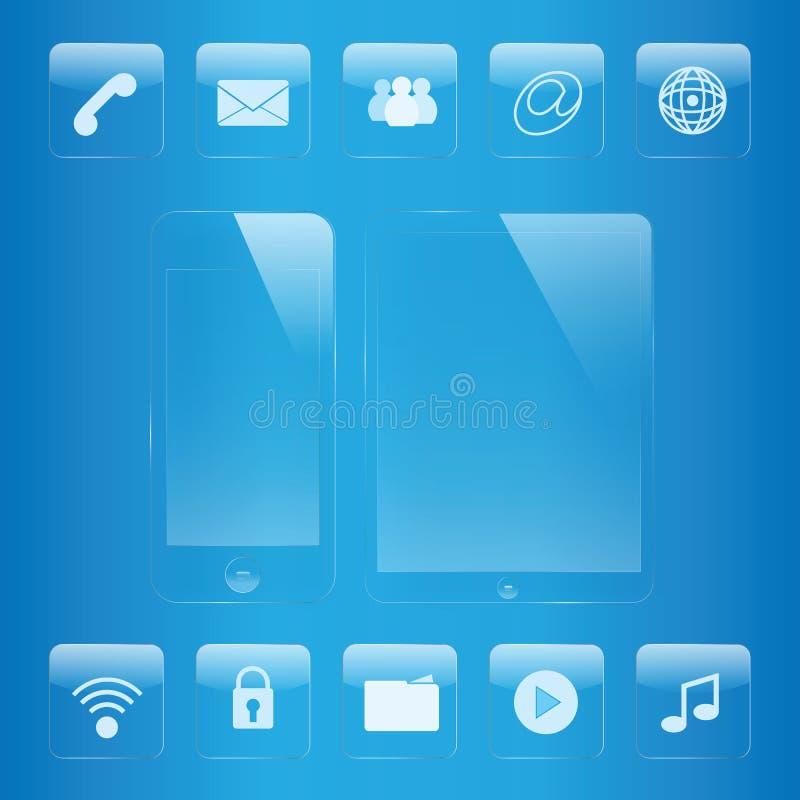Ensemble en verre d'icône de téléphone portable et de comprimé illustration de vecteur