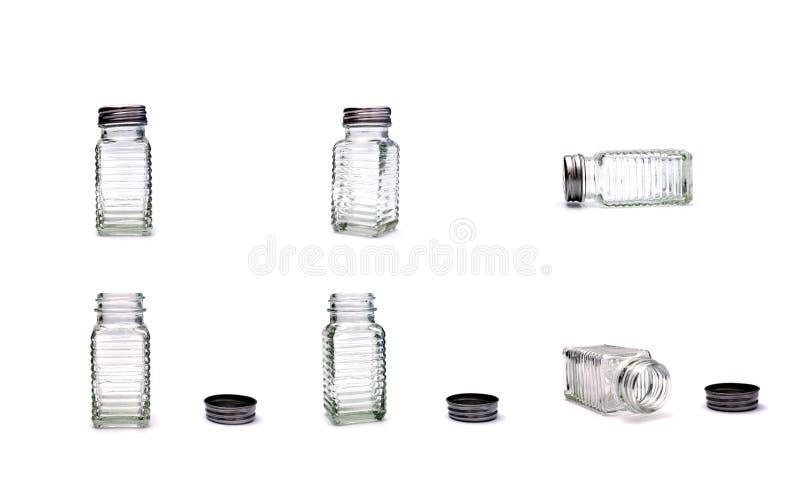 Ensemble en verre de dispositifs trembleurs de sel et de poivre image libre de droits