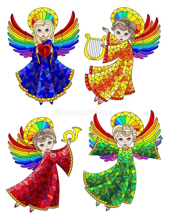 Ensemble en verre souillé avec des éléments, anges mignons de bande dessinée, figures colorées sur un fond blanc illustration stock