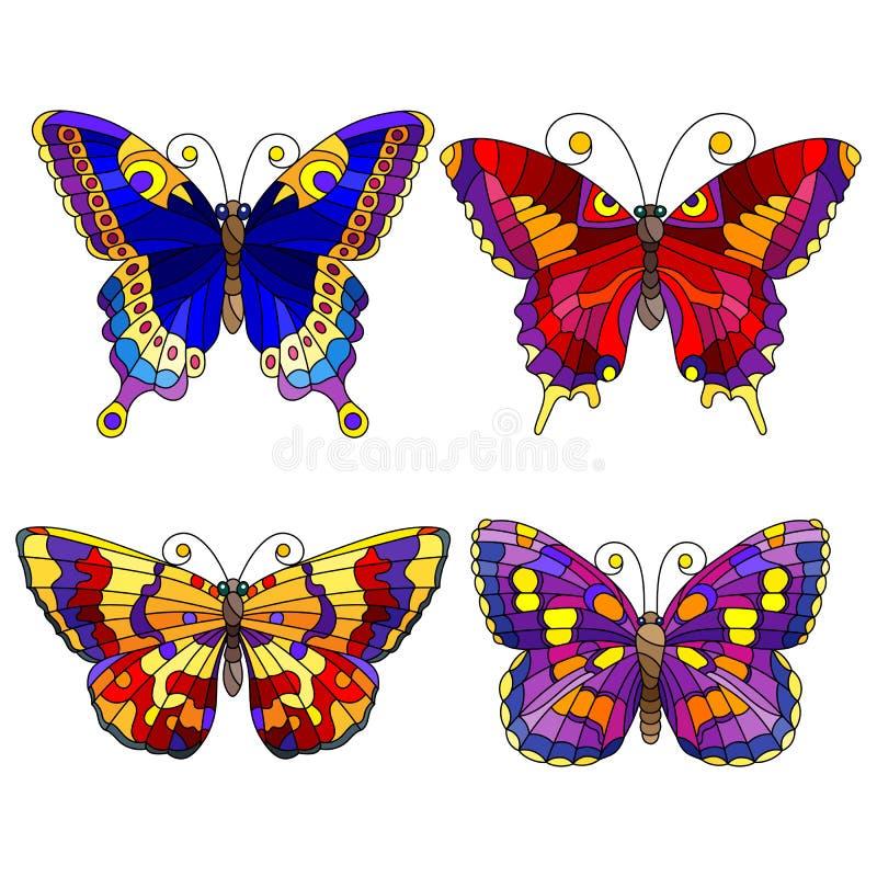 Ensemble en verre souillé avec des éléments sous forme de papillons abstraits lumineux, d'isolement sur le fond blanc illustration stock