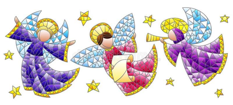 Ensemble en verre souillé avec des anges et étoiles, chiffres colorés sur un fond blanc illustration libre de droits