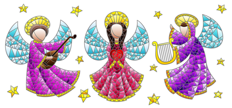 Ensemble en verre souillé avec des anges et étoiles, chiffres colorés sur un fond blanc illustration de vecteur
