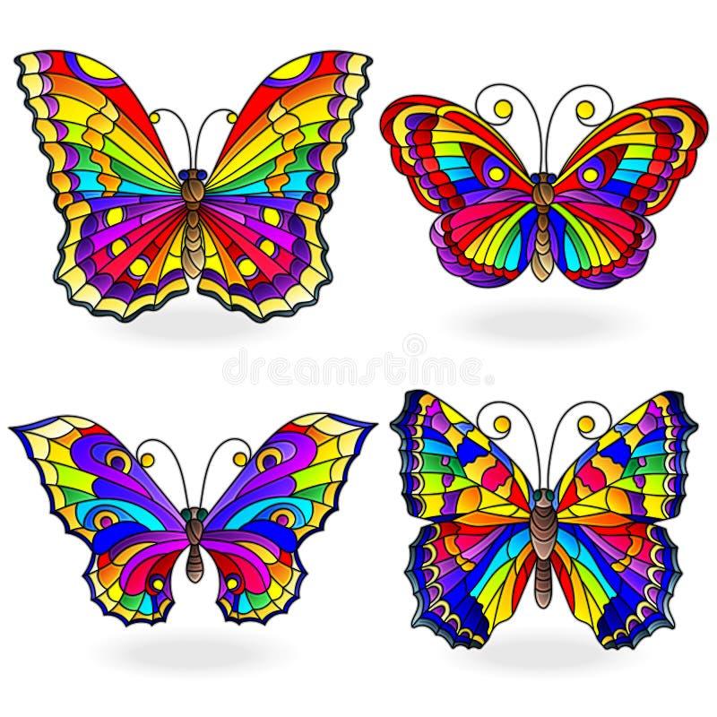 Ensemble en verre souillé avec des papillons d'arc-en-ciel dans le style en verre souillé, d'isolement sur le fond blanc illustration libre de droits