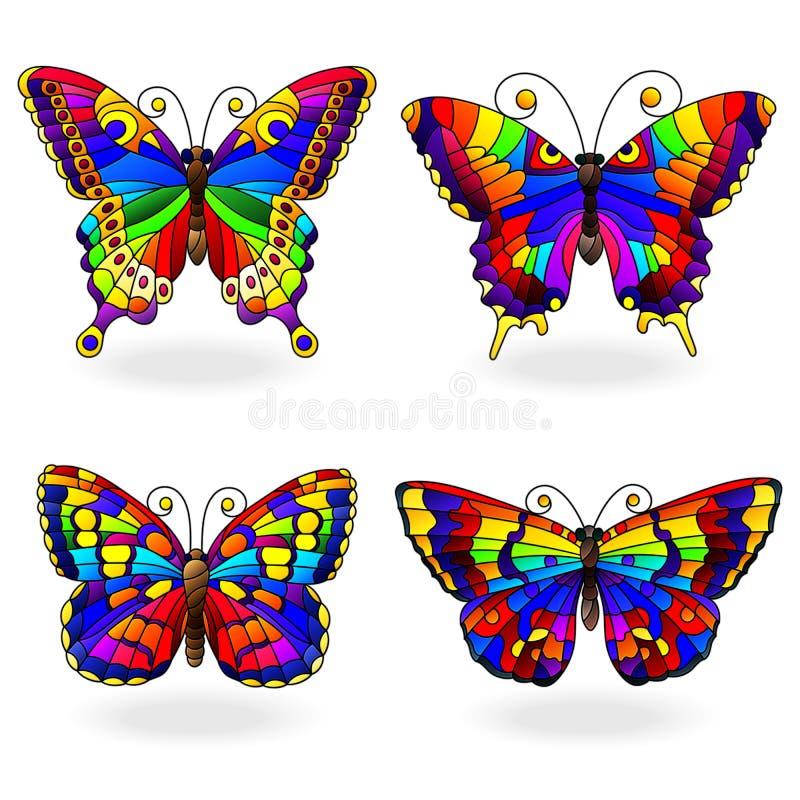 Ensemble en verre souillé avec des papillons d'arc-en-ciel dans le style en verre souillé, d'isolement sur le fond blanc illustration stock