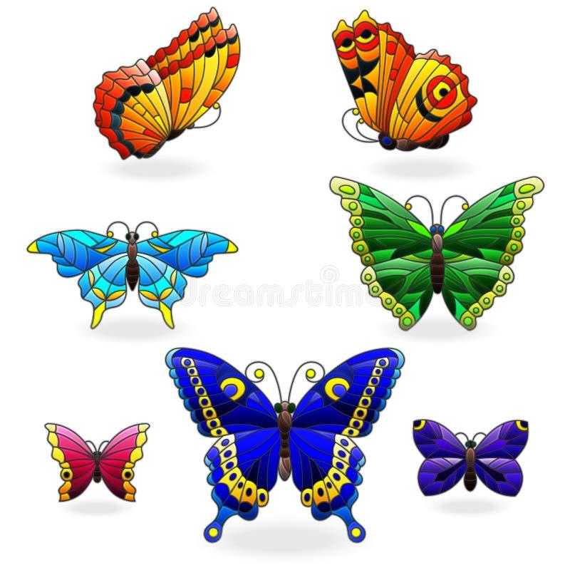 Ensemble en verre souillé avec les papillons abstraits dans le style en verre souillé, d'isolement sur le fond blanc illustration stock