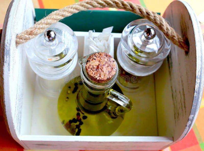 Ensemble et Olive Oil d'épice photographie stock
