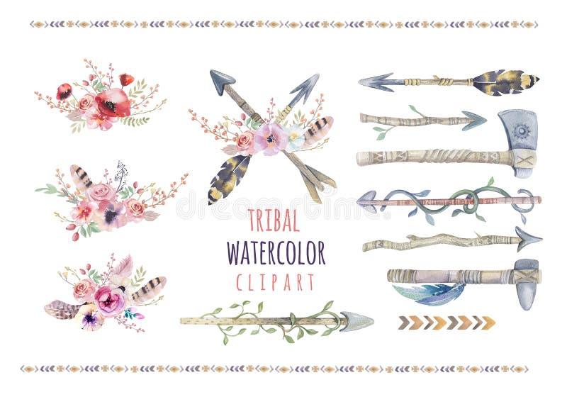 Ensemble ethnique coloré d'aquarelle de flèches et de fleurs dans l'indigène illustration libre de droits