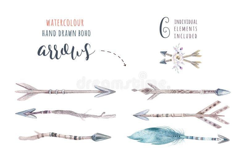 Ensemble ethnique coloré d'aquarelle de flèches et de fleurs dans l'indigène illustration stock