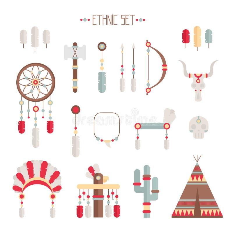 Ensemble ethnique coloré de vecteur avec le receveur rêveur, illustration de vecteur
