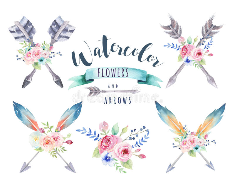Ensemble ethnique d'aquarelle de flèches et de fleurs dans le natif américain s illustration libre de droits