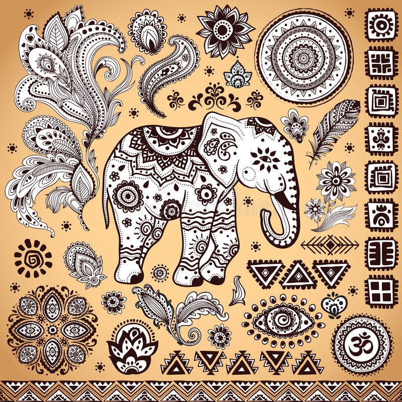 Ensemble ethnique de modèle de vintage tribal illustration stock