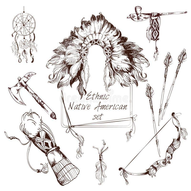 Ensemble ethnique de natif américain illustration stock