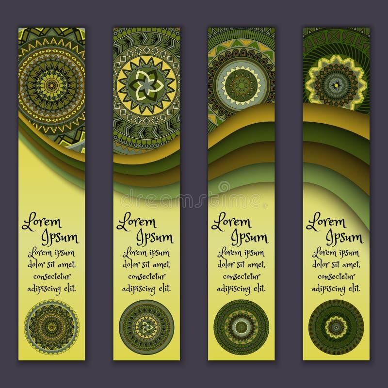 Download Ensemble Ethnique Ornemental Coloré De Bannière Calibres Avec Les éléments Onduleux Et Le Mandala Tribal Illustration Stock - Illustration du décoratif, indien: 77154895