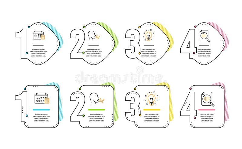 Ensemble exercice, d'ic?nes de respiration d'id?e et de calendrier Signe de diagramme d'Analytics Souffle, cr?ativit?, dispositif illustration stock