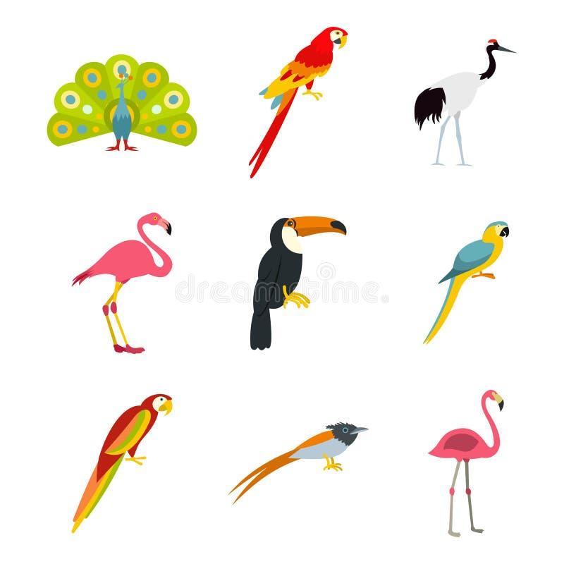 Ensemble exotique d'icône d'oiseaux, style plat illustration stock