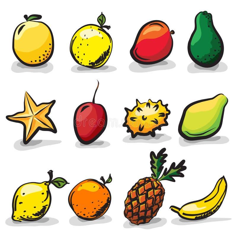 Ensemble exotique de dessin de croquis de fruits illustration libre de droits