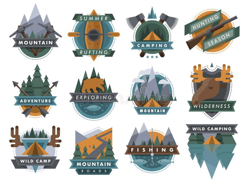 Ensemble extérieur campant d'illustration de vecteur d'emblèmes de calibre d'insignes de scout de logo de voyage de touristes illustration libre de droits