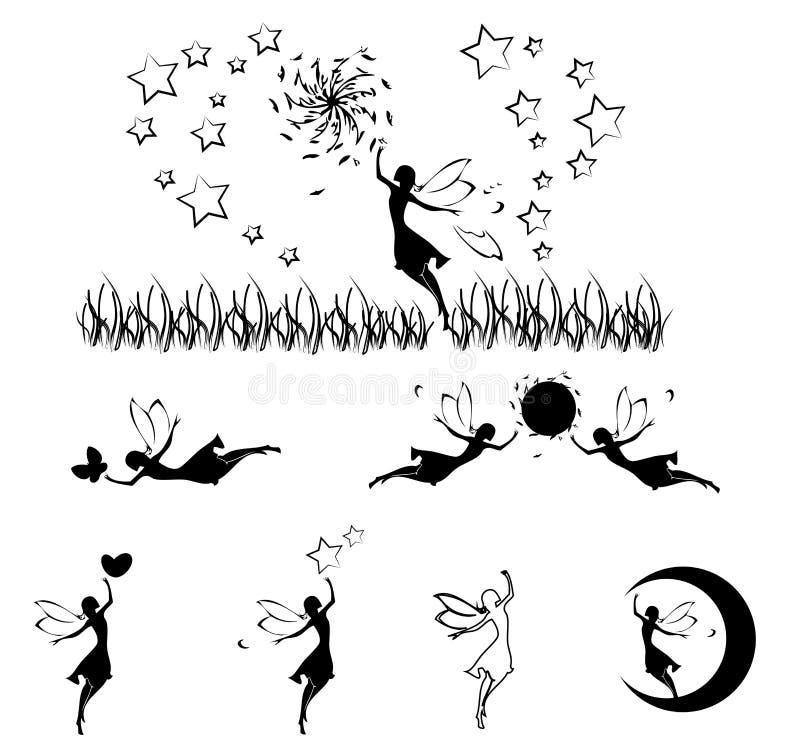 Ensemble féerique de silhouette, vecteur illustration stock