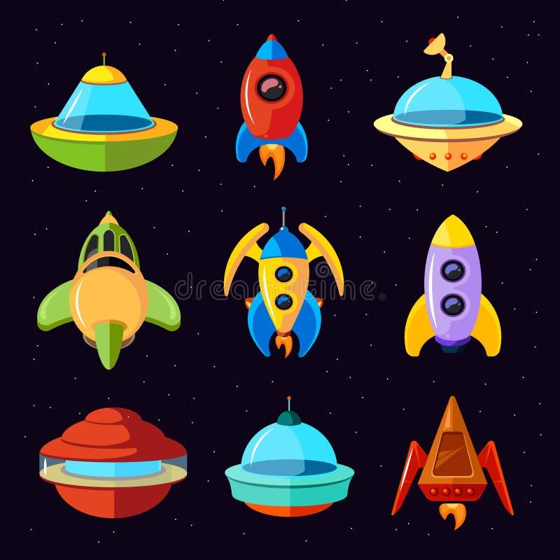 Ensemble fantastique de vecteur d'UFO, de vaisseaux spatiaux et de fusées de vecteur de bande dessinée illustration stock