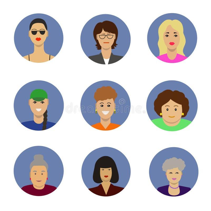 Ensemble femelle de vecteur d'icônes d'avatar illustration de vecteur